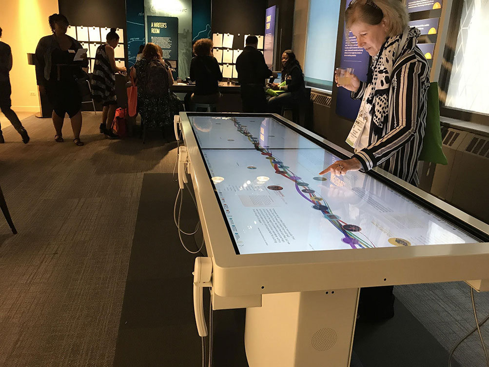 Giant touch table at the new American Writers Museum
