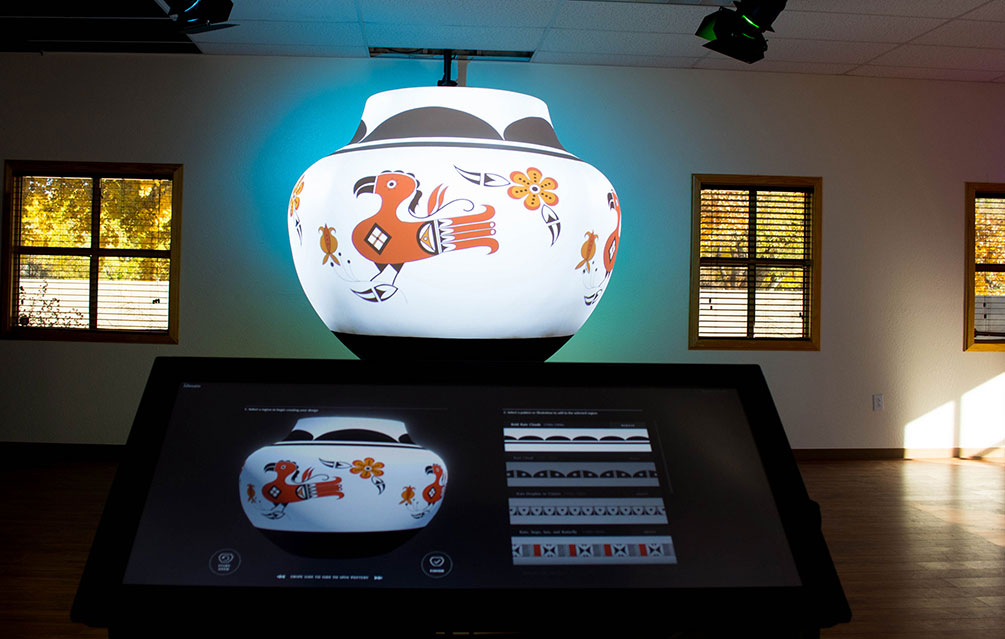 Parrot Projection Mapping on large pottery display.
