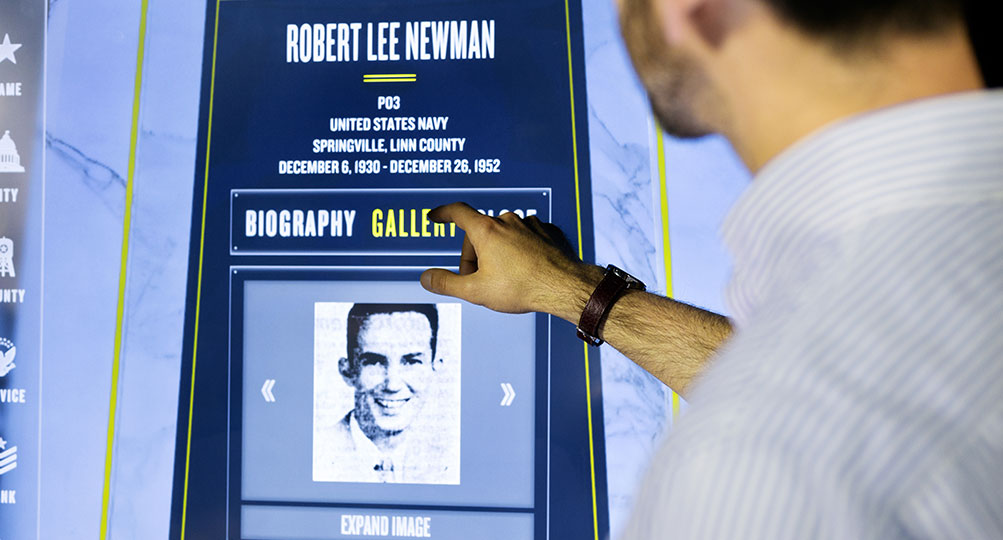 Visitors can browse through biographies and images.