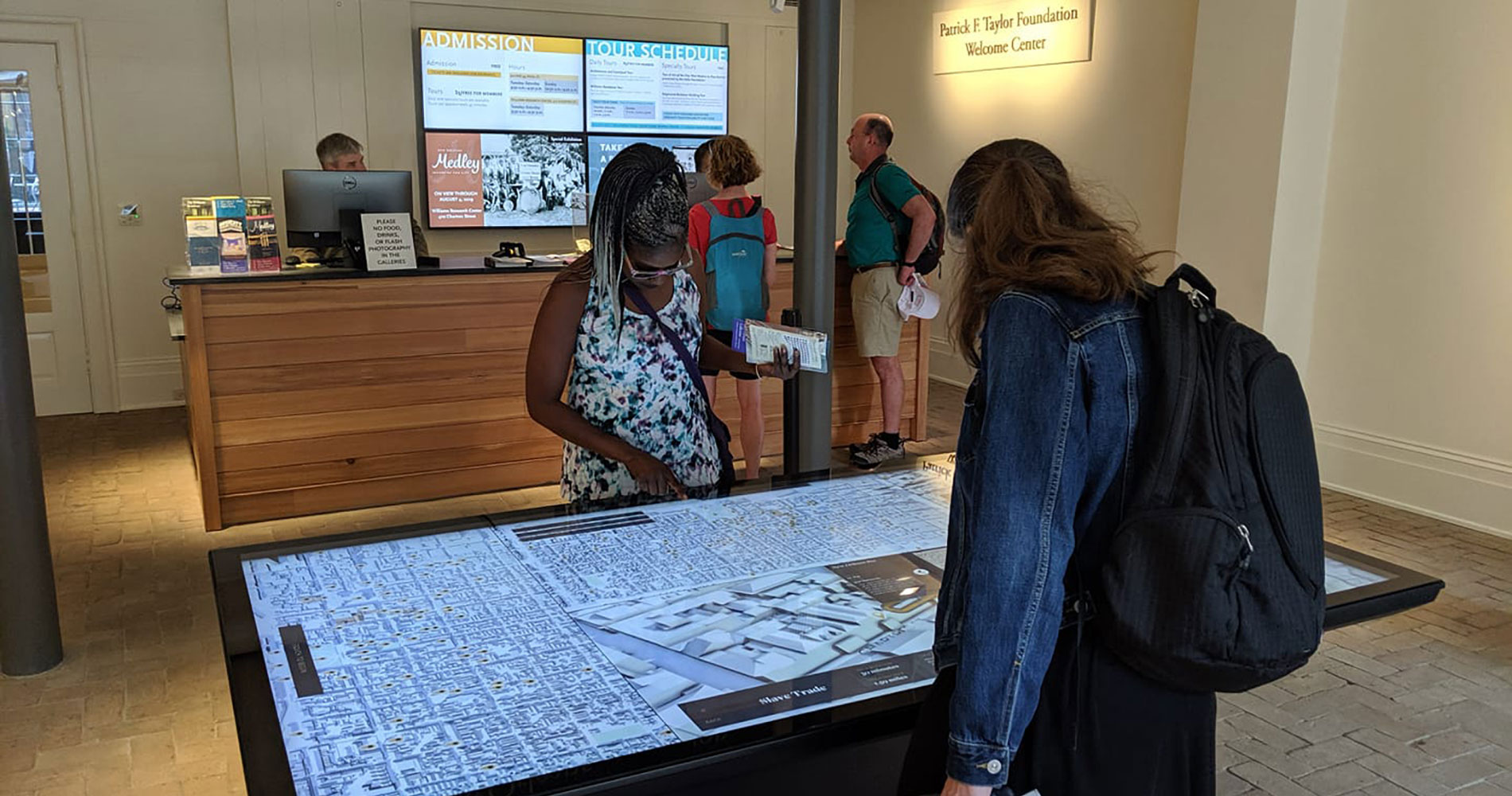 The French Quarter Tours touch table interactive and mobile app allow visitors to explore New Orleans