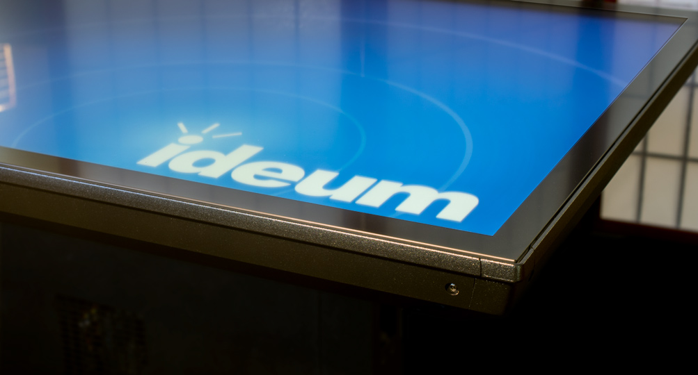 Close view of corner of touch table hardware for which Ideum received a patent.