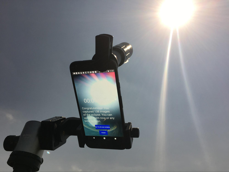 Image of Eclipse Camera app being used to photograph the sun.