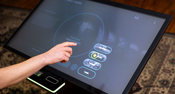 Interaction with a kiosk using touchless gestures.
