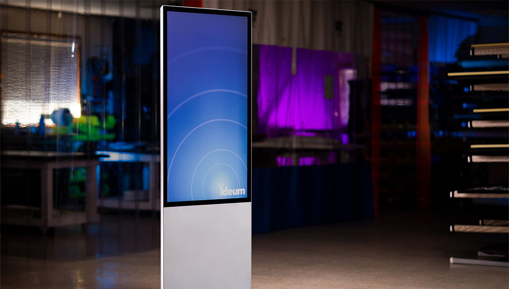 An image of the Ideum Portrait vertical touch kiosk.