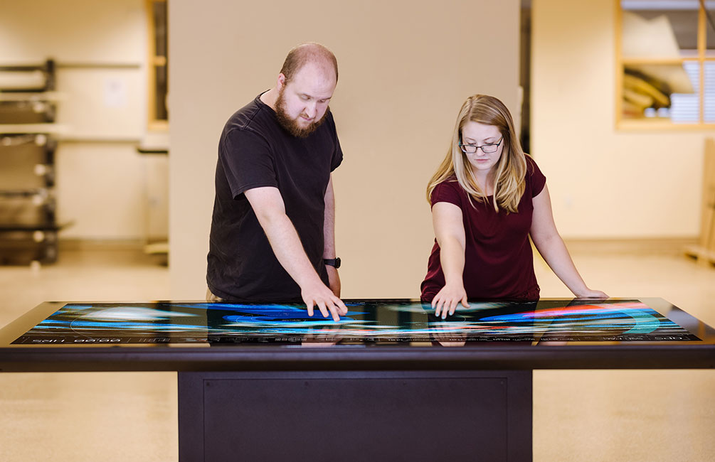 "The new 86"" Colossus multitouch table."